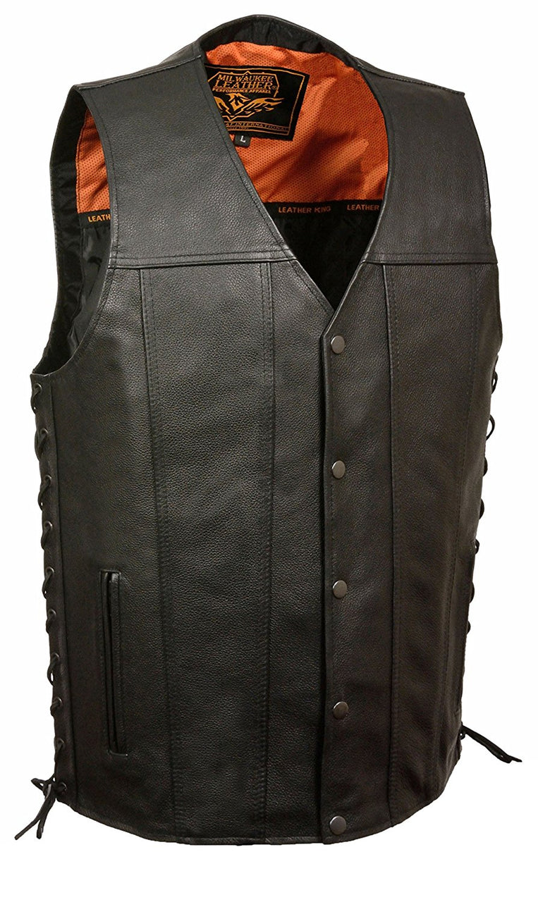 Men's Straight Bottom Side Lace Vest - HighwayLeather