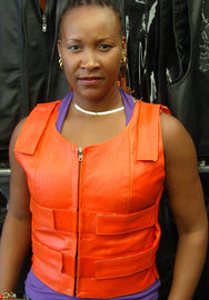 WOMEN ORANGE BULLET PROOF LEATHER VEST - HighwayLeather