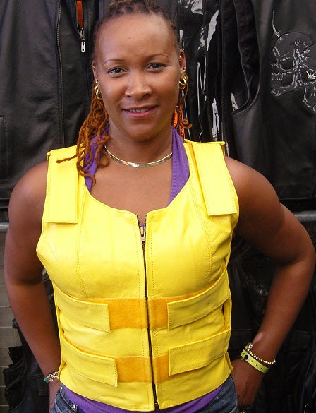 WOMEN YELLOW BULLET PROOF LEATHER VEST - HighwayLeather