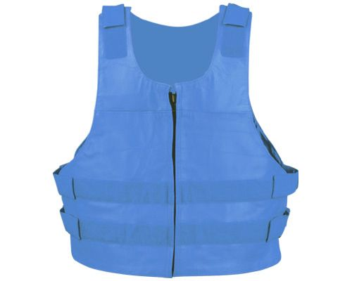 BLUE BULLET PROOF LEATHER VEST - highwayleather