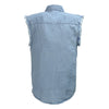 Men's Blue Lightweight Sleeveless Denim Shirt - HighwayLeather