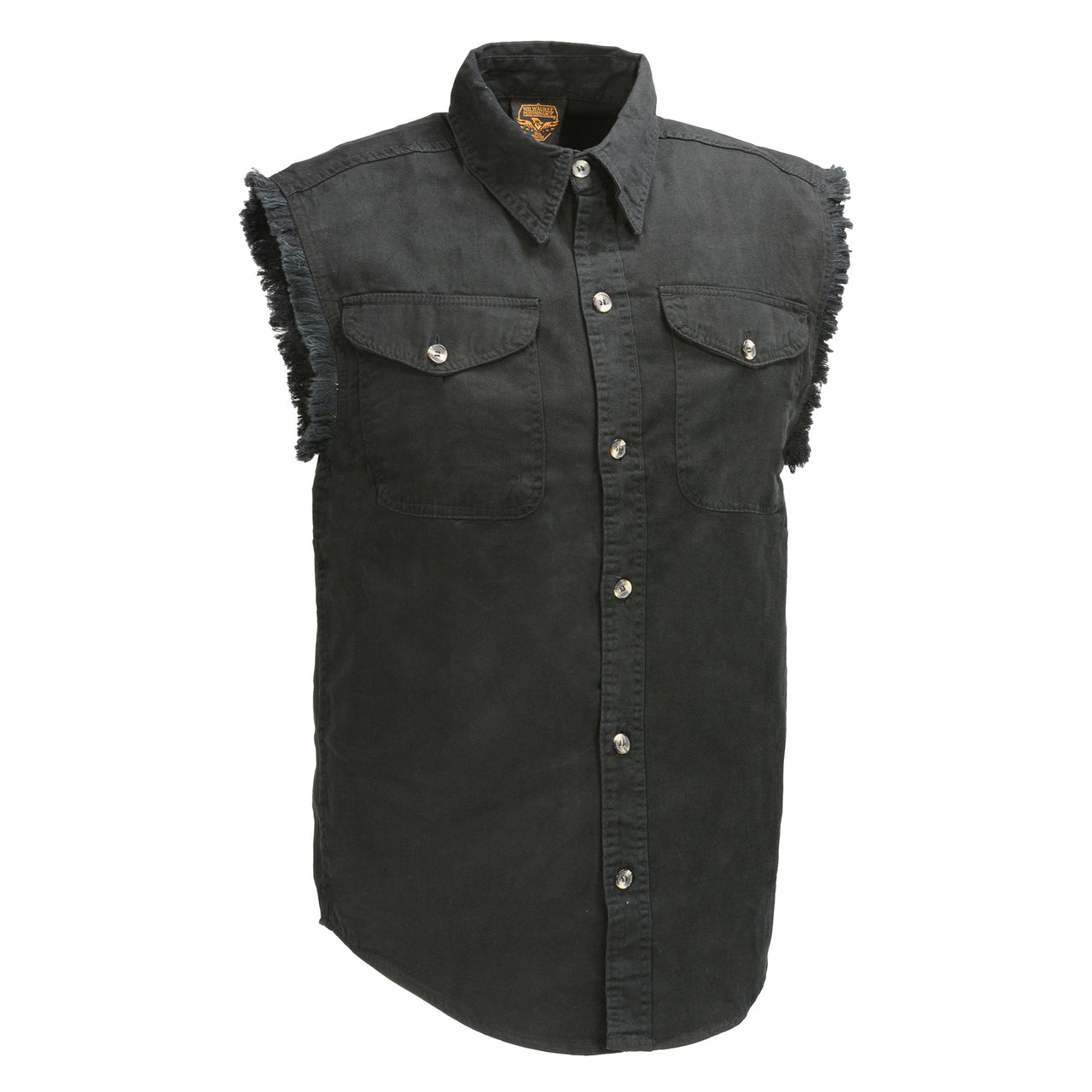 Men's Black Lightweight Sleeveless Denim Shirt - HighwayLeather