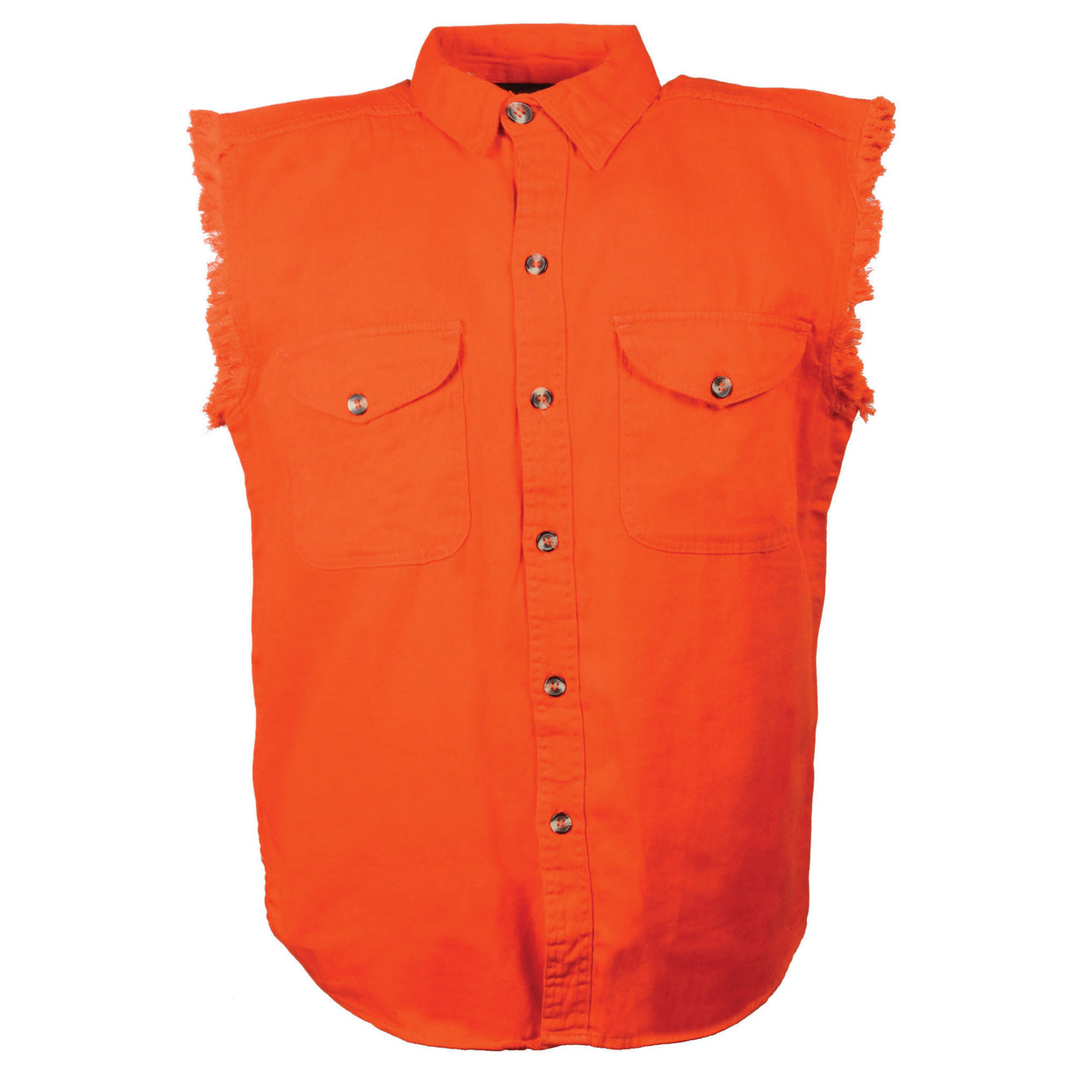 Men's Orange Lightweight Sleeveless Denim Shirt - HighwayLeather