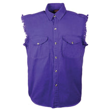 Men's Purple Lightweight Sleeveless Denim Shirt - HighwayLeather