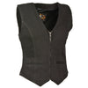 Ladies Zipper Front Denim Vest w/ V Neck Collar - HighwayLeather