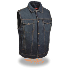 Men's Snap Front Denim Vest w/ Shirt Collar - HighwayLeather