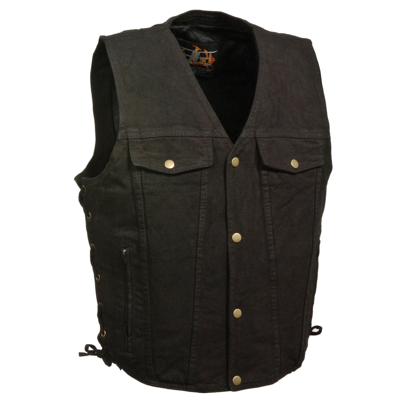 Men's Side Lace Denim Vest w/ Chest Pockets - HighwayLeather