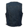 Men's 10 Pocket Side Lace Denim Vest - HighwayLeather
