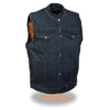 Men's Snap Front Denim Club Vest w/ Gun Pocket - HighwayLeather