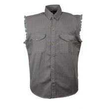 Men's Gray Lightweight Sleeveless Denim Shirt - HighwayLeather