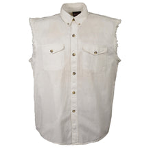 Men's White Lightweight Sleeveless Denim Shirt - HighwayLeather