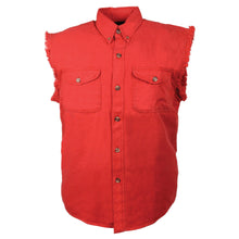 Men's Red Lightweight Sleeveless Denim Shirt - HighwayLeather