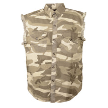 Men's Sand Camo Lightweight Sleeveless Denim Shirt - HighwayLeather