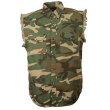 Men's Jungle Camo Lightweight Sleeveless Denim Shirt - HighwayLeather
