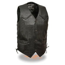 Men's Classic Side Lace Biker Vest w/ Braiding - highwayleather