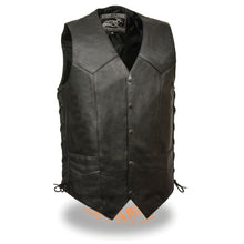Men's Side Lace Biker Vest w/ Gun Pocket - Tall - highwayleather