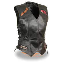 "Ladies Side Lace Love to Ride"" Vest Pre-Patched - HighwayLeather"