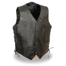 Men's Side Lace Leather Vest w/ Skull & Cross Bones - highwayleather