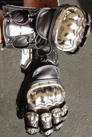 Gladiator Metal Knuckle Leather Motorcycle Gloves - HighwayLeather