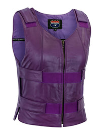 WOMEN PURPLE BULLET PROOF LEATHER VEST - PURPLE - HighwayLeather