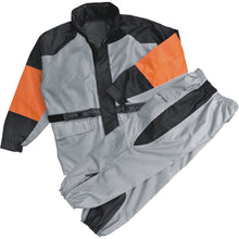 Ladies Orange & Silver Rain Suit Water Resistant w Reflective Piping