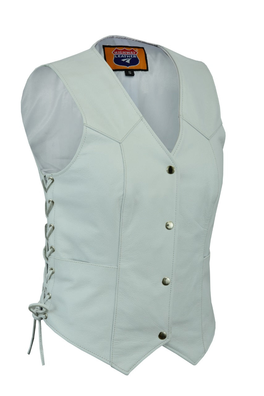 Women white club leather vest with side strings ideal for biker club