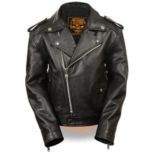 Unisex Children's Biker Jacket w/ Patch Pocket Styling - HighwayLeather