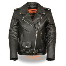 Ladies Full Length Side Lace Leather Police Jacket - highwayleather