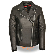 Ladies Jacket w/ Braid & Stud Back Detailing - HighwayLeather