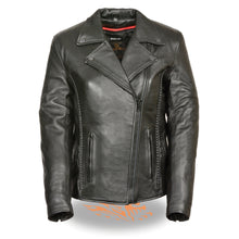 Ladies leather Jacket with Braid & Stud Back Detailing - highwayleather