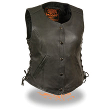Ladies Snap Front Side Lace Vest - HighwayLeather