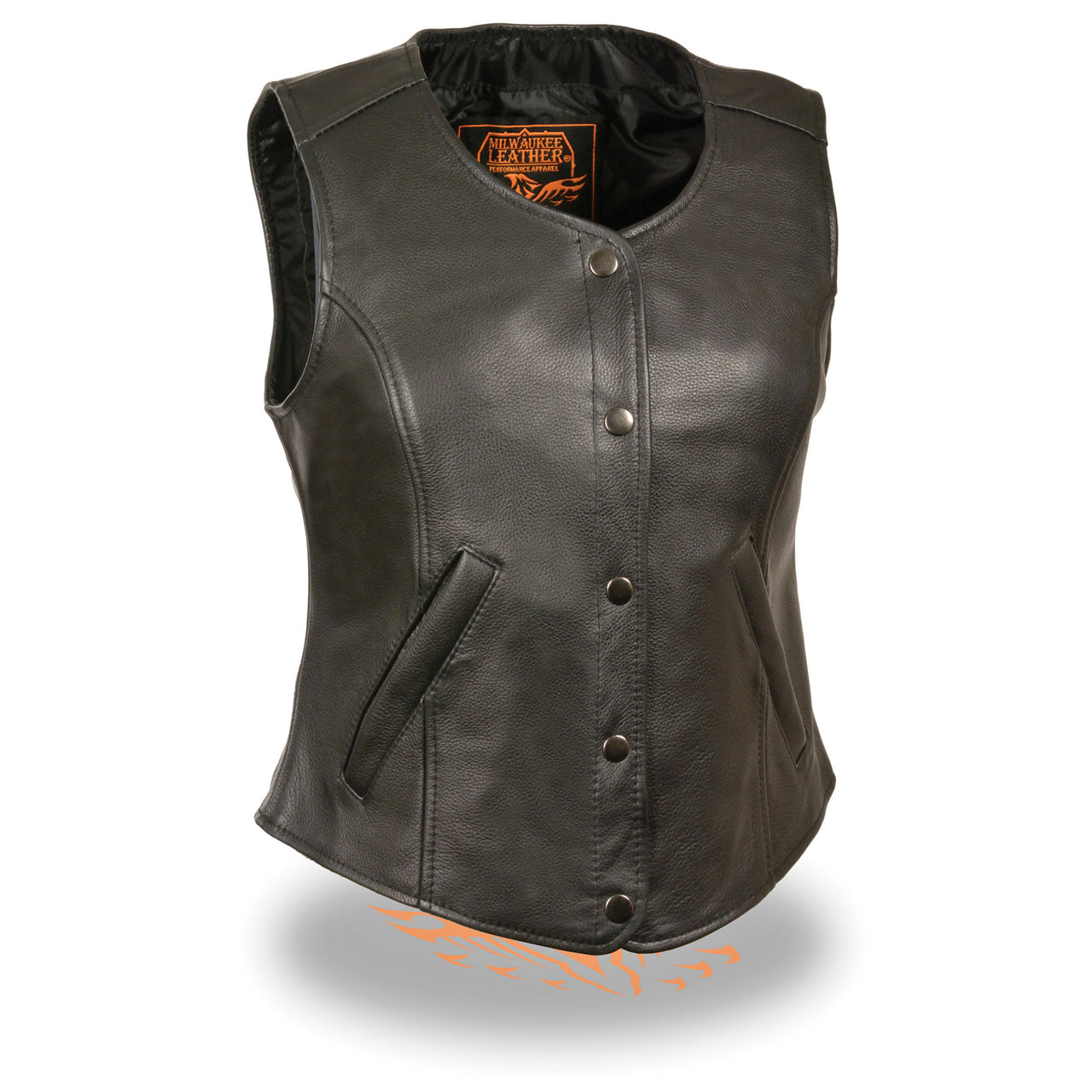 Ladies Snap Font Longer Body Vest - HighwayLeather