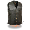 Men's Denim Pocket Side Lace Vest - HighwayLeather