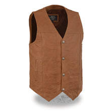 Men's Western Style Plain Side Vest w/ Buffalo Snaps - highwayleather
