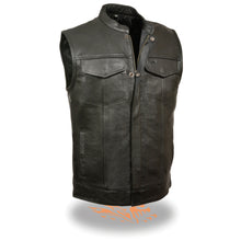 Men's Open Neck Snap/Zip Front Club Style Vest - highwayleather