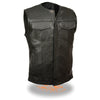 Men's Collarless Snap/Zip Front Club Vest - HighwayLeather