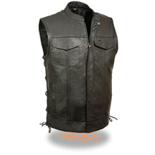 Men's Side Lace Snap/Zip Front Club Vest - highwayleather