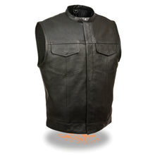 Men's Snap Collar Concealed Snap Club Vest - highwayleather