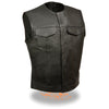 Men's Collarless Concealed Snap Club Vest - HighwayLeather
