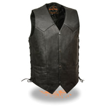 Men's Classic Side Lace Vest w/ Gun Pockets - HighwayLeather