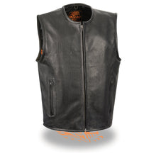 Men's Zipper Front Leather Vest w/ Seamless Design - highwayleather