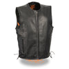 Men's Zipper Front Side Lace Leather Vest w/ Seamless Design - HighwayLeather