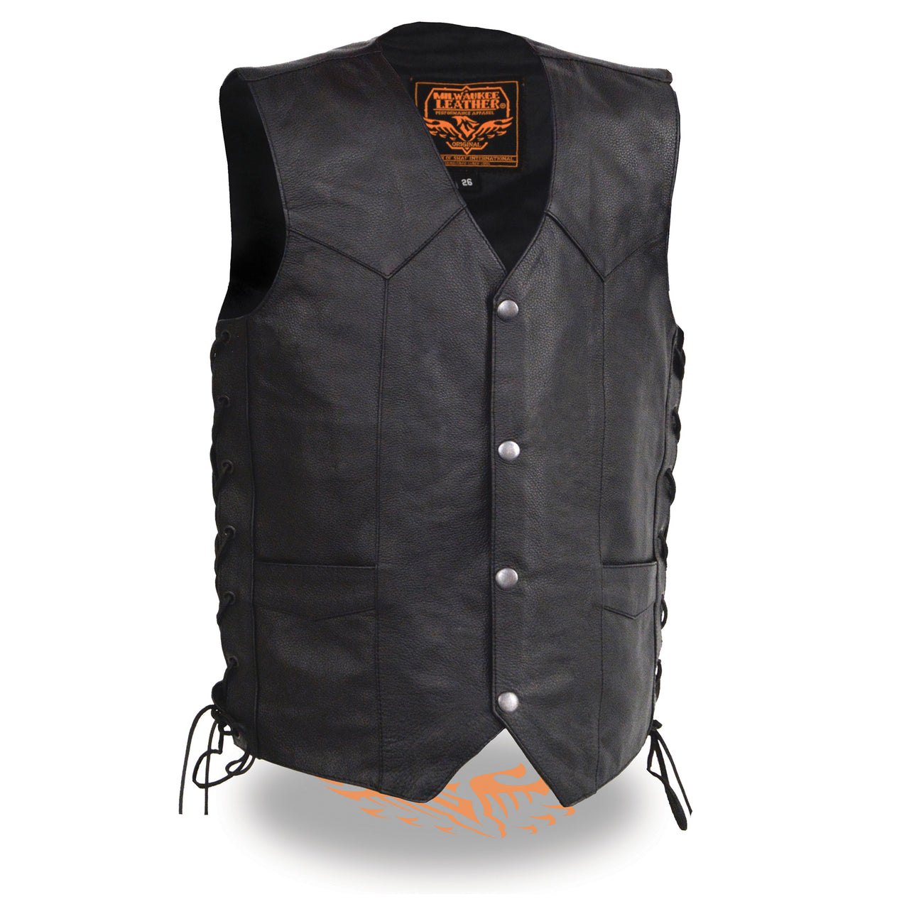 Youth Size Leather Side Lace Biker Vest - HighwayLeather