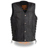 Youth Sized Snap Front Side Lace Leather Vest - HighwayLeather