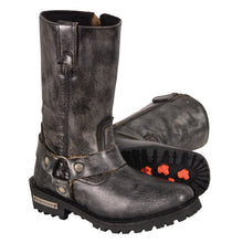 Ladies Distressed Grey 11 Inch Classic Harness Square Toe Boot - HighwayLeather