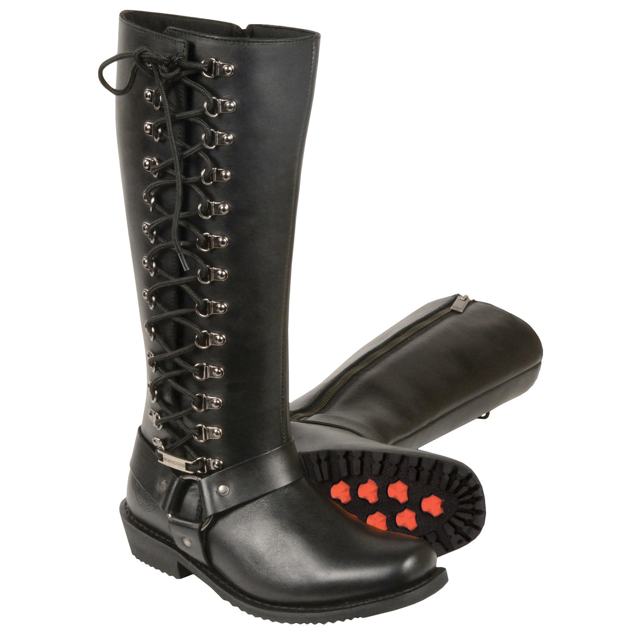"Ladies 14"" Inch Classic Harness Square Toe Leather Boot w/ Full Lacing - highwayleather"