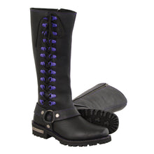 "Ladies 14"" Inch Leather Harness Boot w/ Purple Accent Lacing - HighwayLeather"