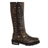 "Ladies Distressed Brown 14"" Inch Classic Harness Square Toe Leather Boot w/ Full Lacing - HighwayLeather"