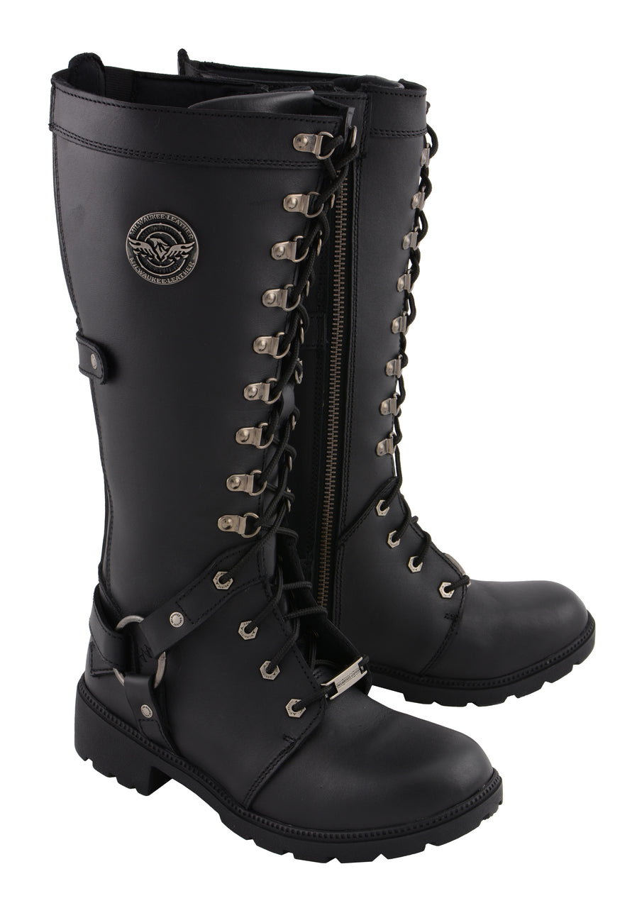 "Women's 15"" Combat Style Harness Boot - HighwayLeather"