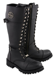 "Women's 16"" Lace Front Cap Toe Riding Boot W/ Side Zipper Entry - HighwayLeather"